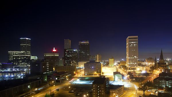 Medium Shot: Sunrise Morning Over Downtown Tulsa (Night To Day)
