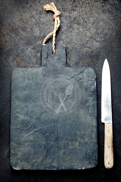Slate cutting board and knife