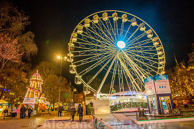 The big wheel and helter skelter at Oslo's WInter Wonderland Christmas event