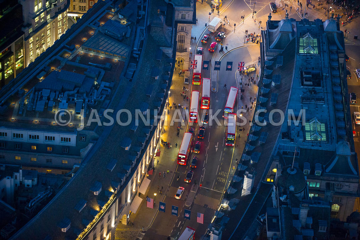 Aerial view of Regent Street and Piccadilly Circus at night, London