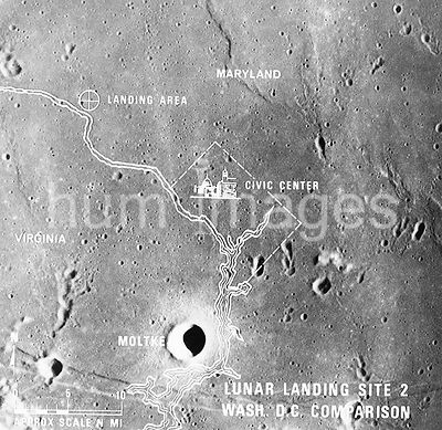 (July 1969) --- A photographic illustration comparing the size of Apollo Landing Site 2 with that of the metropolitan Washing...