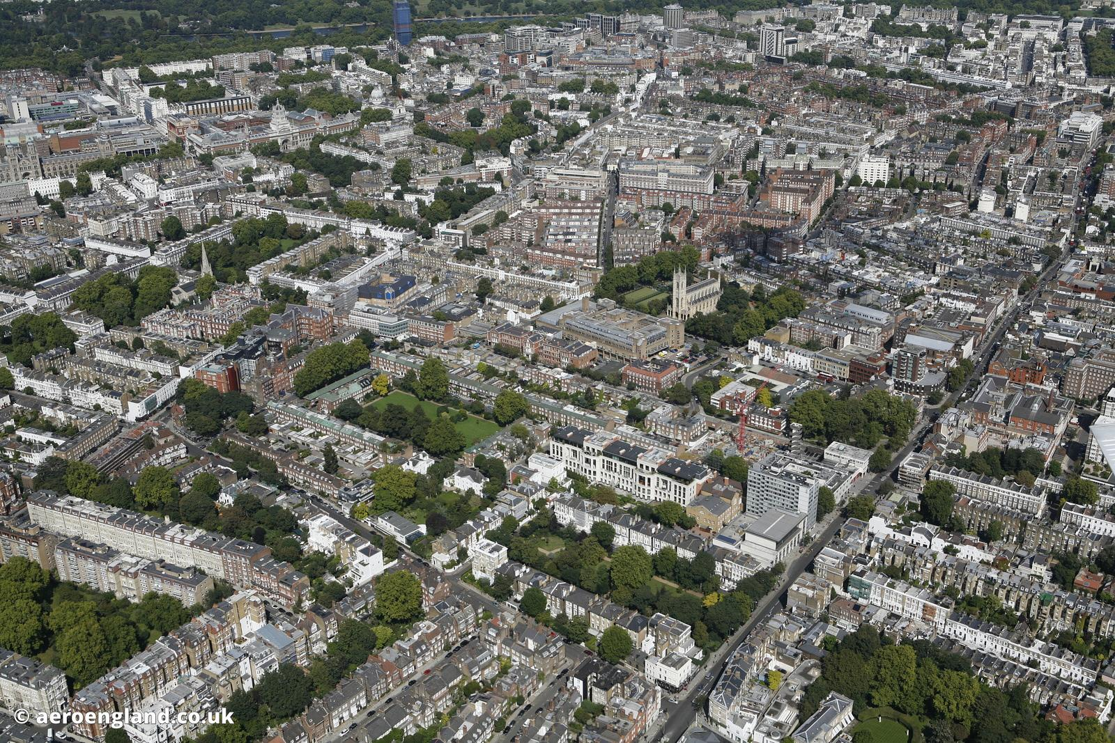 aerial photograph of Chelsea London England UK  showing  King's Rd, Chelsea, London SW3 5EL, Chelsea Common, Manresa Rd  SW3 ...