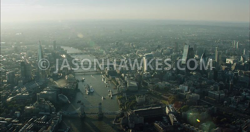 London Aerial Footage Tower Bridge and River Thames.