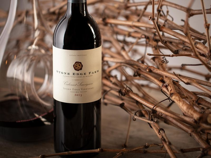New spring release wine bottle photography for Stone Edge Farm in Sonoma. Photography by Jason Tinacci