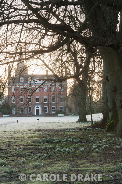 Dawn sunlight rises above the early C18th Queen Anne facade of Welford House illuminating the frosty ground dotted with snowd...