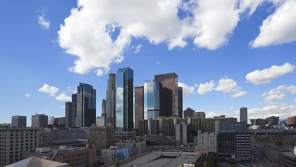 Wide Shot: Under The Shadows Of Cumulus - Reflective Glass & Steel, Downtown L.A.