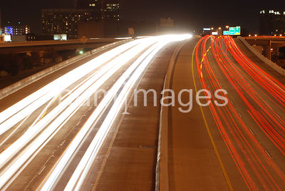 Blurred lights on busy Ft. Worth Texas highway (I-30)