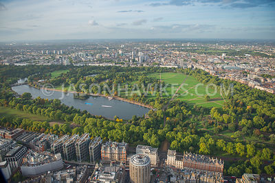 Aerial view of Hyde Park and The Serpentine, London
