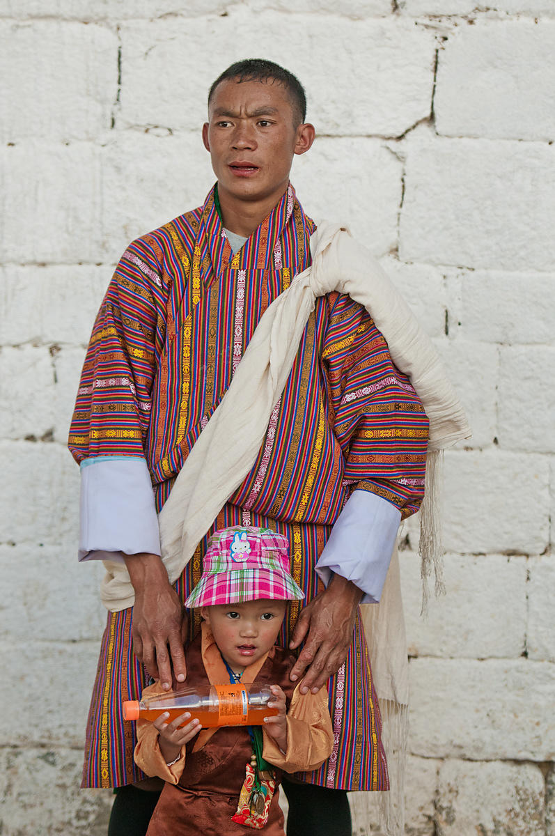 This family portrait of a father and her daughter was shot in a monastery in Bhutan.
