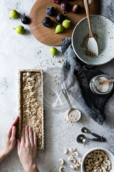Vegan gluten-free fig tart case being prepared