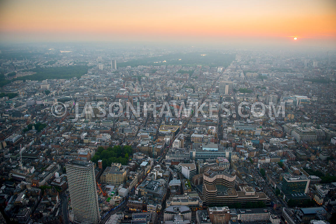 Aerial view of Oxford Street looking West at dusk, London