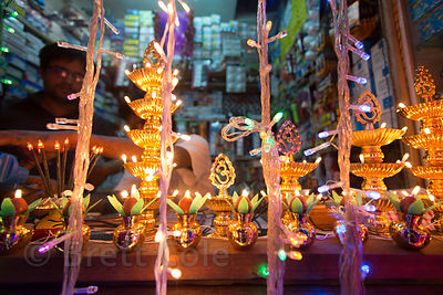 Diwali lamps for sale at an electrical shop in Lake Gardens, Kolkata, India