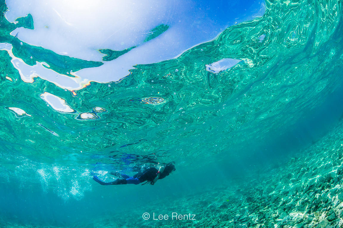 Snorkeler and Surface Reflections in Warm Waters off Big Island of Hawaii
