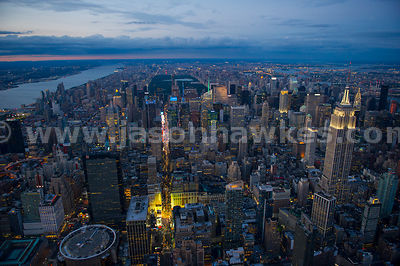 Aerial view of Midtown Manhattan - looking up 7th Avenue to Times Square