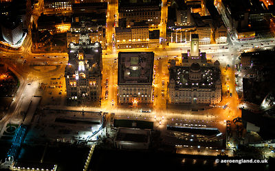 aerial photograph of Liverpool at night