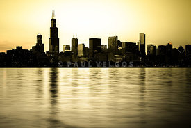 Chicago Skyline at Sunset Photo