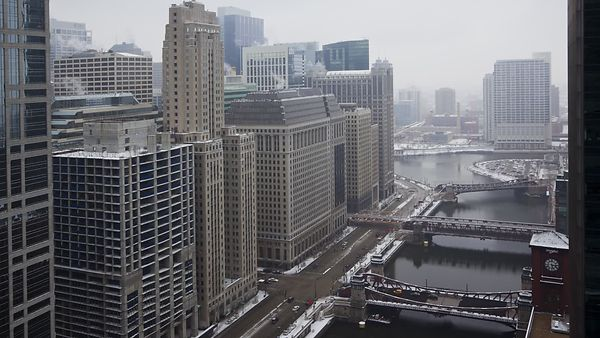 Bird's Eye: Steaming Mid-Rises & Snow Lined Chicago River