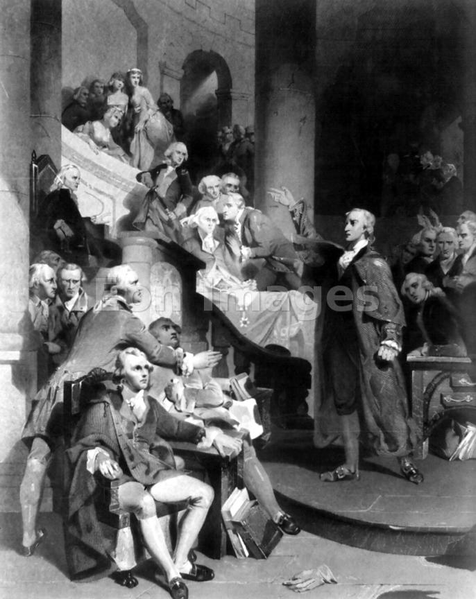 Patrick Henry decries Stamp Act to House of Burgesses