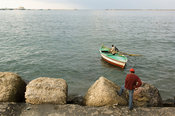 Fishing boat, Waterfront at the Mediterranian sea, Alexandria, Egypt