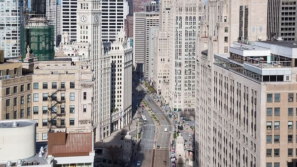 Bird's Eye: Close Up - Foot Traffic & Auto Traffic Pulsating Down Michigan Avenue, Looking North Near the Chicago River
