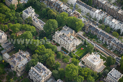 Aerial view of Mansions in Kensington Palace Gardens, London