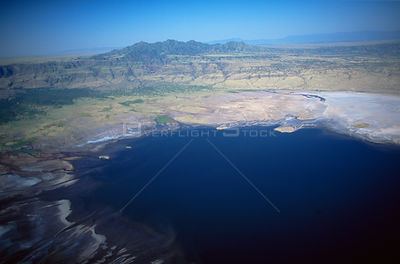Aerial view of Lake Natron, the breeding area for the 2.5 million Lesser Flamingoes that live in the Rift Valley, northern Ta...
