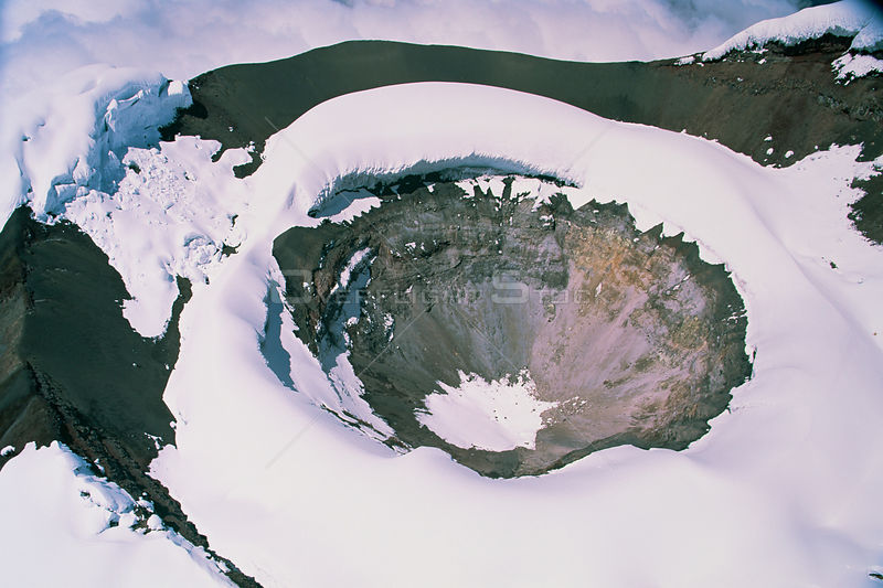Aerial view of Cotopaxi volcano crater covered in snow, Ecuador, South America, 2000