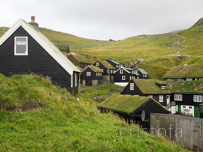 Faroes - Mykines village on  the tiny island of the same name