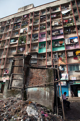 By most accounts the most densely populated square mile on Earth, the Dharavi slum in Mumbai, India has about a million people.