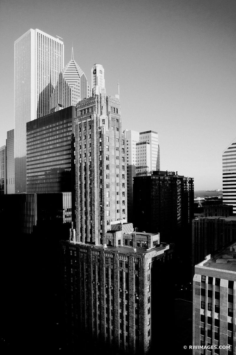 CHICAGO DOWNTOWN CARBIDE AND CARBON BUILDING BLACK AND WHITE VERTICAL