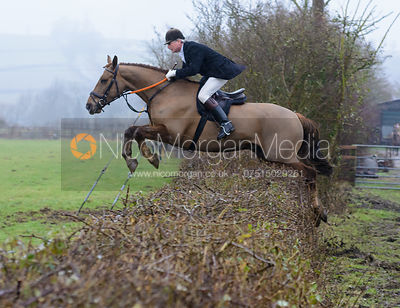 Nick Wright jumping a hedge at Town Park Farm