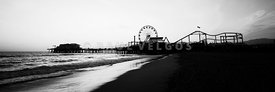 Santa Monica Pier Black and White Panoramic Photo