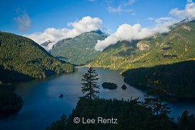 Ross Lake and lifting autumn clouds looking toward Davis Peak, Ross Lake National Recreation Area, North Cascades National Pa...
