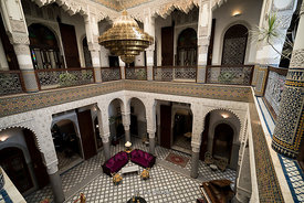 Scenes inside Hotel Riad Fes in Fes, Morocco.