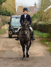 Abbie Weatherstone arriving at the meet. The Belvoir Hunt at Springfield Farm 23/2