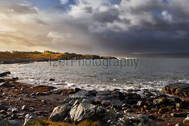 Coastal crofts at Loch Ewe, Scottish Highlands, Scotland, UK.