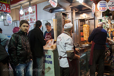 Doner kebabs being prepared in the spice market, Istanbul