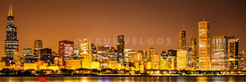 Chicago Skyine at Night Panoramic Photo