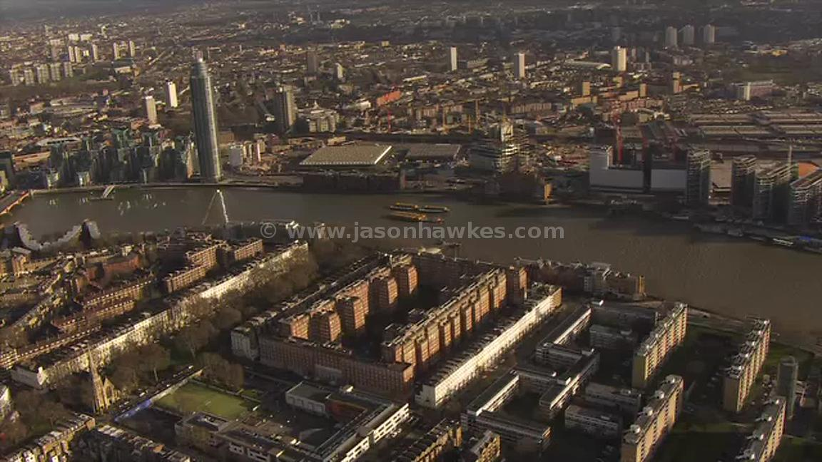 Aerial footage from Pimlico to Nine Elms, London