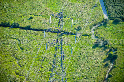 Aerial view of electricity pylons, Kent