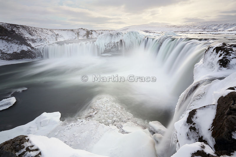 Godafoss waterfall ('Fall of the Gods'), on Skjalfandafljot river, in winter