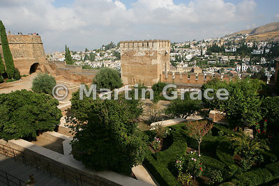 Looking over the Patio de la Madraza, Alhambra, with the Torre del Cubo (The Tub) to the left and the Torre de las Gallinas (...