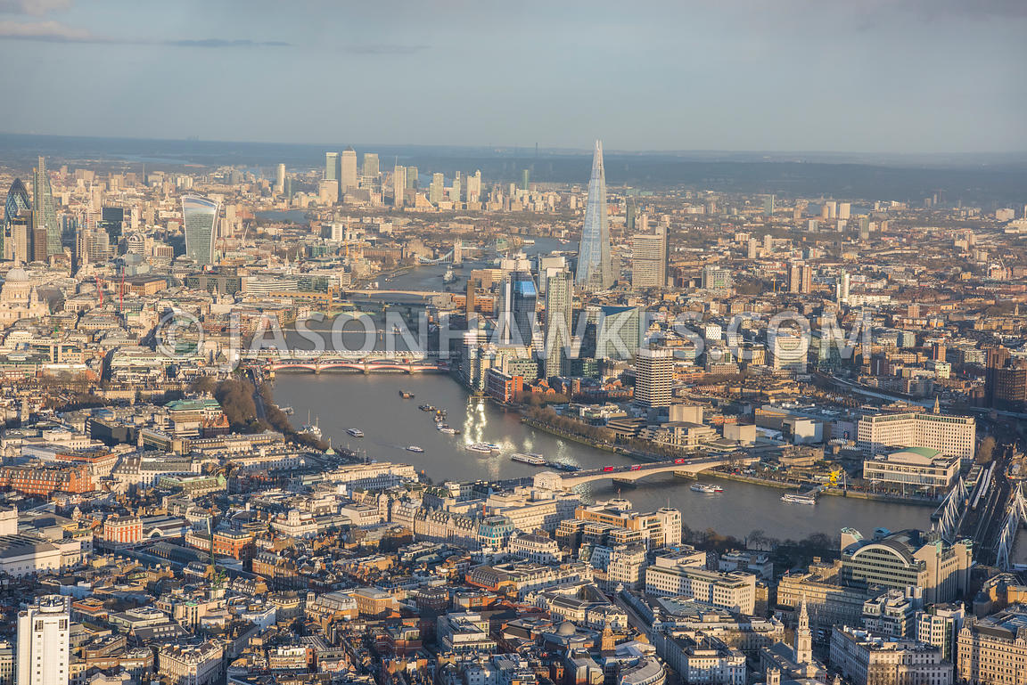Aerial view of London, The Shard from Covent Garden.