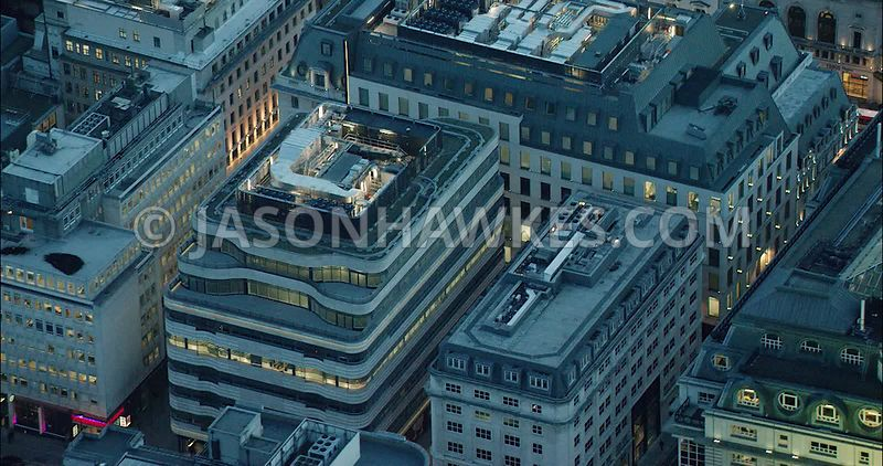 London Aerial Footage of St James's Market at night.