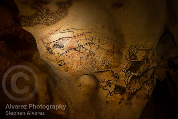 Lions in the lowest part of Chauvet Cave, Ardeche France.