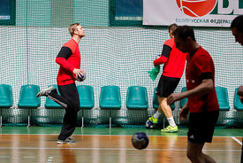 Players of Telekom Veszprem during the Final Tournament - Final Four - SEHA - Gazprom league,Team training in Brest, Belarus,...
