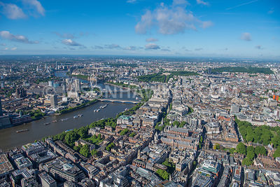 Aerial view of London River Thames Temple and St Giles