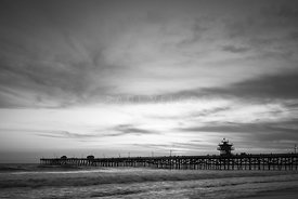 Orange County Pier San Clemente Black and White Photo