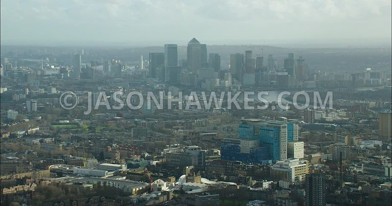London Aerial footage, East London, London Hospital towards Docklands.