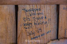 Grafitti in Boulder Shelter in Olympic National Forest